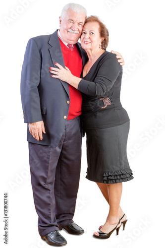 Loving elderly couple celebrating Valentines day Poster