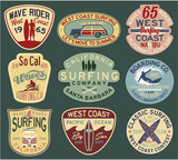 California surfing badges vector collection for t shirt print or embroidery  - 131803701