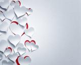 paper hearts  - 3D romantic  card / background ( love , valentine , wedding ) - 131808514