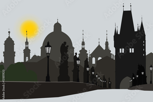 Poster View of an Old town of Prague from Charles bridg. Illustration