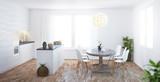 Cucina bianca nuova con isola e parquet