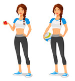 young fit healthy woman in sportswear