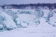 American Falls covered with ice and snow, Niagara Falls, USA