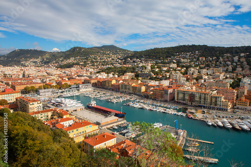 Papiers peints Nice Aerial View on Port of Nice and Luxury Yachts