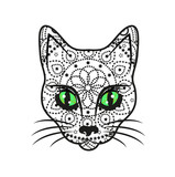 Vector illustration of decorated cats head, testa di gatto vettoriale