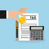 tax time flat line icons vector illustration design
