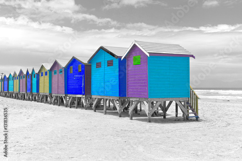 Row of painted beach huts in Cape Town, South Africa - 131836535