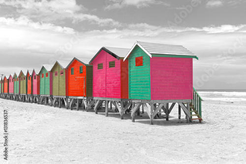 Row of painted beach huts in Cape Town, South Africa - 131836537