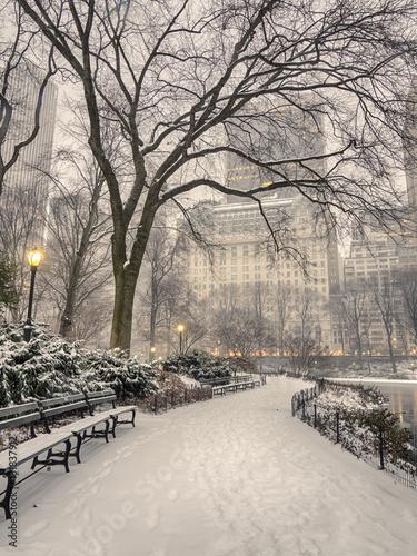 Papiers peints New York Central Park, New York City blizzard