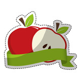 slice of apple with decorative ribbon over white background. colorful design. vector illustration