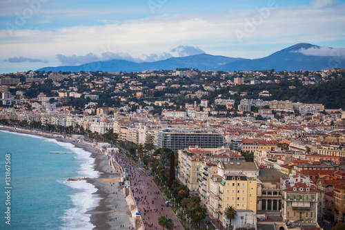 The seafront of Nice with Promenade des Anglais