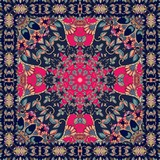 Tablecloth with stylized red flower - mandala. Headscarf.