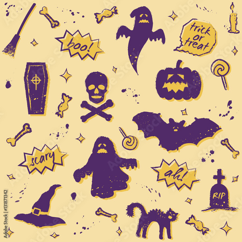 Materiał do szycia vector seamless halloween pattern with purple elements on yellow background