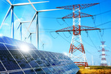 Modern electric grid lines and renewable energy concept with photovoltaic panels and wind turbines - 131872186