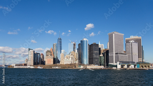 View of the Manhattan skyline from the ferry to State Island © josevgluis