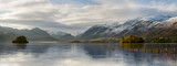 Beautiful Autumn morning at Derwentwater in the English Lake District with snowcapped mountains. - 131883367