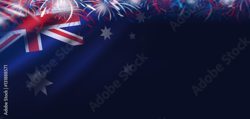Australia day background of flag and firework - 131888571
