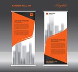 Orange Roll up banner template vector, flyer, advertisement, poster, Display, pull up design