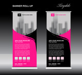 Pink Roll up banner template vector, flyer, advertisement, poster