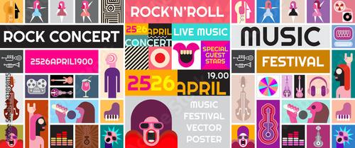 Fotobehang Abstractie Art Rock Concert Vector Poster