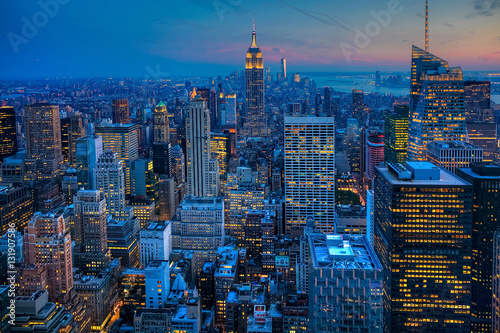 The Manhattan Skyline after dark Poster