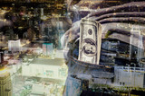 Double exposure of Businessman with money in hand with cityscape
