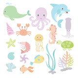 Cute under the sea with variation style and pastel colour
