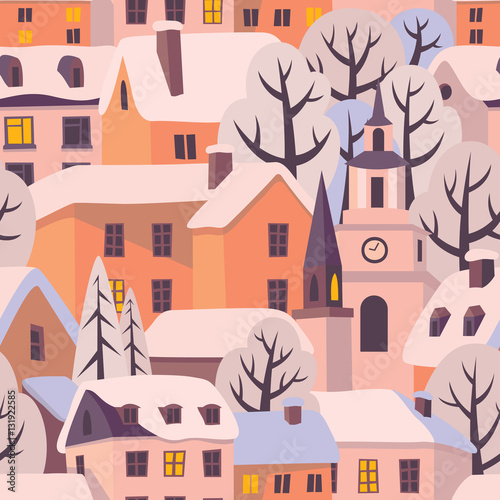 Cotton fabric Winter city with snow-covered roofs. Vector seamless pattern.