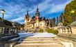 Peles castle Sinaia in winter season, Transylvania, Romania protected by Unesco World Heritage Site