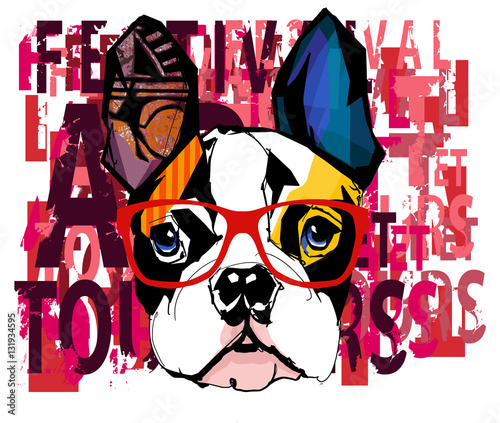 In de dag Art Studio Portrait of french bulldog wearing sunglasses