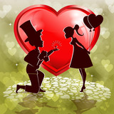 Red heart,silhouette of a boy and  girl