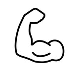 Flexing bicep muscle strength or power line art icon for exercise apps and websites