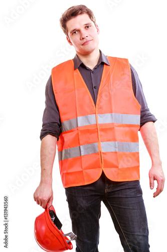 Poster Male worker in orange uniform and helmet.