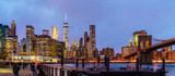 view of Brooklyn Bridge and lower Manhattan in NYC