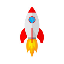 Spaceship Icon In Flat Design  Illustration Sticker