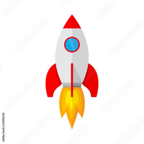Fototapeta Spaceship icon in flat design. Vector illustration.