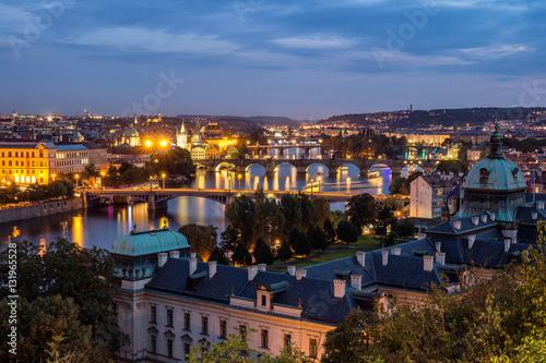 Panoramic view of bridges over Vltava river from Letna Park. Prague, Czech Republic. Stitched panorama © daliu