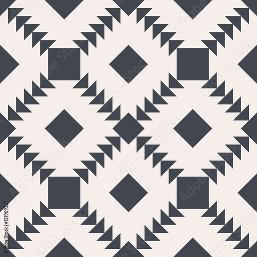 Seamless vector background. Black and white square and triangle texture. Abstract pattern. - 131969321
