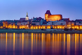 City of Torun in Poland, medieval Old Town skyline in the evening. Poland, Europe.