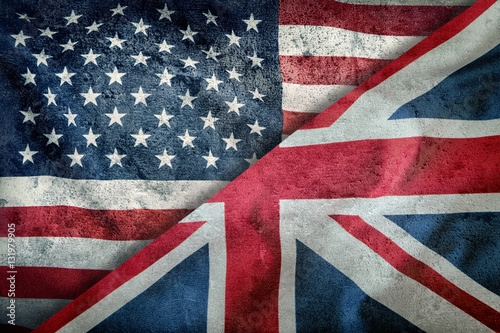 Poster Mixed Flags of the USA and the UK