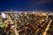 Aerial view of Manhattan New York City at night