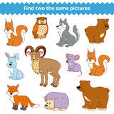 Find two the same pictures, vector set of forest animals