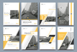 Abstract binder layout. White a4 brochure cover design. Fancy info text frame. Creative ad flyer font. Title sheet model set. Modern vector front page. Elegant city banner. Yellow figures icon fiber