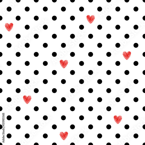 Cotton fabric Polka dot seamless pattern with red hearts. Valentines Day design. Romantic vector background.