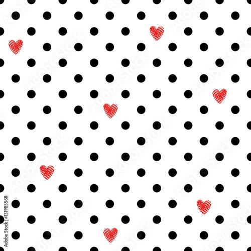 Stoffe zum Nähen Polka Dot Musterdesign mit roten Herzen. Valentinstag-Design. Romantische Vektor Hintergrund.