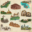 architecture around the world - an hand drawn pack