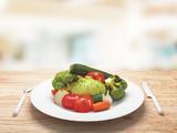 Piatto con verdure cotte biologico e sano