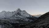 Panoramic view of circus of the Ama Dablam and Lhotse-Nuptse wall before sunrise - Everest region, Nepal