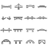 bridge line icon set...