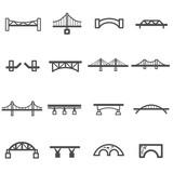 Fototapety bridge line icon set vector